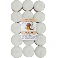 Vonné čajové svíčky 15ks Kokos Rentex