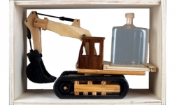 Dřevěný bagr se lžící a cisternou 0,35l