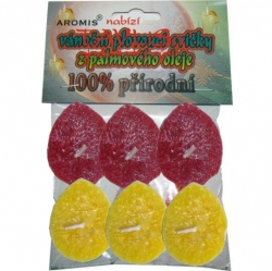 Svíčky plovoucí palmový olej 6ks* 2b č+zl Aromis