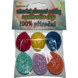 Svíčky plovoucí palmový olej 6ks Aromis mix barev