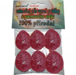 Svíčky plovoucí palmový olej 6ks červená Aromis