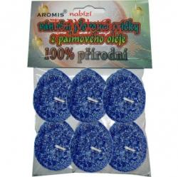 Svíčky plovoucí palmový olej 6ks modrá Aromis