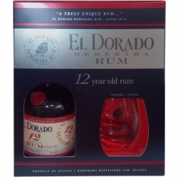 Rum El Dorado 12 let 40% 0,7l Box 2x glass