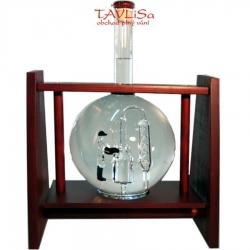 sklo Dřevěná houpačka s lahví 0,5l destilační zař.